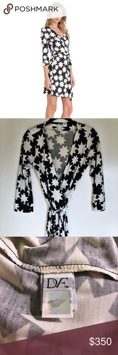 Diane von Furstenberg New Julian Two Wrap Dress Diane von Furstenberg New Julian Two Wrap Dress in Vintage Stars White. Can wear casually in the day with flats and dress up with heels. Timeless style. Like new, only wore once!   100% silk Diane Von Furstenberg Dresses Mini