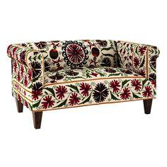 Canapé 2/3 places en coton brodé motifs floraux MDM 600€