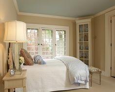 """Not sure if ceiling painted blue would work with Kilim Beige walls. benjamin moore palladian blue ceiling - one of designers pick for closest to southern porches """"haint blue"""". Blue Ceiling Bedroom, Bedroom Green, Master Bedroom, Bedroom Decor, Master Bath, Palladian Blue Benjamin Moore, Shaker Beige Benjamin Moore, Colored Ceiling, Ceiling Color"""