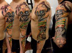Transformers tattoo! My nerdy heart is smiling. :) http://www.skin-artists.com/interview-with-kobay-kroniktattoo.htm
