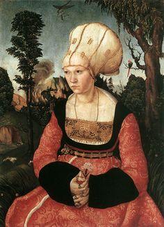 LUCAS CRANACH (1472 - 1553) | Portrait of Anna Cuspinian, detail - 1502. Oskar Reinhart Collection, Winterthur.