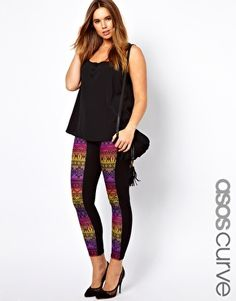 Image 1 of ASOS CURVE Exclusive Legging With Rainbow Aztec Panel