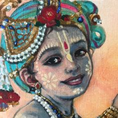 This cheeky boy comes with his monkey friends – by Radhe Gendron Krishna Hindu, Baby Krishna, Cute Krishna, Lord Krishna, Radhe Krishna, Lord Shiva, Krishna Drawing, Krishna Painting, Indian Gods