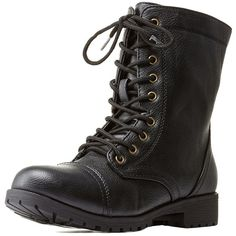 Bamboo   Lace-Up Combat Boots ($26) ❤ liked on Polyvore featuring shoes, boots, ankle booties, black, chunky black boots, combat booties, chunky booties, military boots and black lace up boots