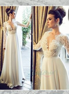 sexy backless see through lace top long sleeves bridal dress
