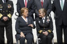 Navy Rear Adm. Martha Herb, right, director of the Inter-American Defense College, talks with Chilean President Michelle Bachelet at the college at Fort Lesley J. McNair in Washington, D.C., March 30, 2016. An alumnus of the institution, Bachelet held a question-and-answer session with students, met with faculty and toured the campus. DoD photo by Navy Petty Officer 2nd Class Dominique A. Pineiro