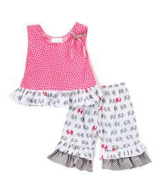 Another great find on #zulily! White Elephants Tank & Ruffle Shorts Set - Toddler & Girls by Carolina Kids #zulilyfinds