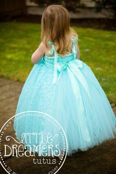 Aqua Flower Girl Tutu Dress with Aqua Lace by littledreamersinc