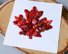 Maple Leaf Art, Canadiana Button Art, 150th Birthday, Wall Decor made of Buttons