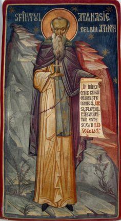 Sf.Athanasie Athonitul-Prodromou-Grigore Popescu-Muscel Byzantine Icons, Catechism, Saints, Christianity, Spirituality, Sf, Painting, Fresco, Paintings
