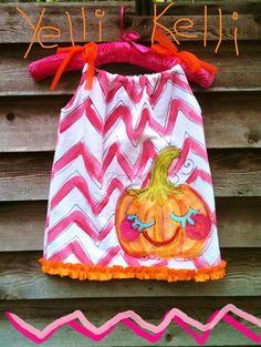 Chevron Pumpkin Pillowcase Dress Wonky Hand Painted by YelliKelli, $35.00
