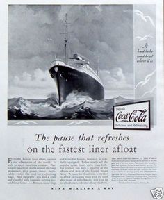 """1930 Coca Cola Coke """"Pause That Refreshes"""" Fastest Ocean Liner Afloat Vintage Ad 