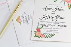 Hand Painted Peach Floral Wedding Invitation Hand Written Calligraphy All designs can be color customized to your wedding colors. www.etsy.com/shop/beholddesignz