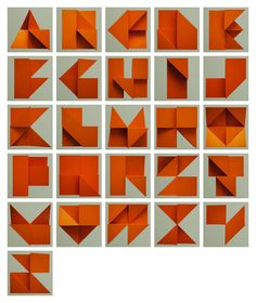 Alphabet Relief is a lovely limited edition print by Tim Fishlock. The piece features a three-dimensional alphabet folded by hand and then photographed. Litho printed on Munken rough paper, … Origami Font, Box Origami, Origami Letter, Origami Design, Origami Easy, Origami Paper, Cool Typography, Typography Letters, Graffiti Lettering