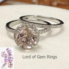 Round Morganite Engagement Ring Sets Pave Diamond Wedding 14K White Gold 7mm - Lord of Gem Rings - 1