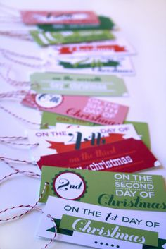 Cute tags for the 12 days AFTER Christmas gifts, ending with Three Kings.