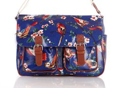 www.edsfashions.co.uk  Oilcloth handbags school and college bags  – Stunning Bird Print Satchel – Handbags – Mothers Day Gifts – Ladies Gifts