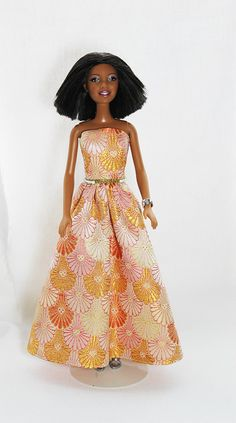 Upcycled Gold Brocade Barbie Gown by Scrapcycling on Etsy, $12.00