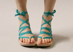 Size 7  Mid Maple Thong RTW Mohop Shoes by mohop on Etsy, $145.00  Oh, so fun - with interchangeable ribbons :-)