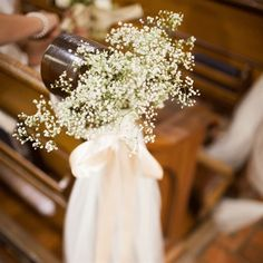 baby\'s breath pew hangs Wedding aisle flower décor, wedding ceremony ...