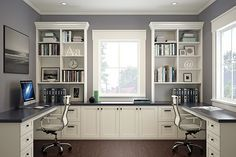 Move the built-ins to the right side and leave both the left and middle tops for working space, this is beautiful, functional, and HAS DESK SPACE -- Home Office   Built-in Office   Organized Interiors