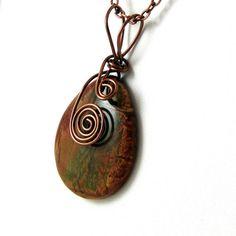 Red Creek Jasper Wire Wrapped Gemstone Necklace by HCJewelrybyRose