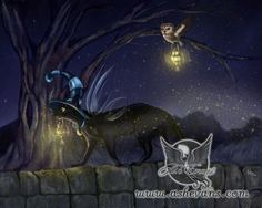 Lighting the way Ash Evans fantasy black cat art print door AshEvans, $15.00