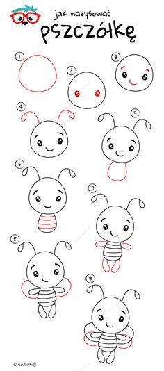 Jak Narysować  Pszczółkę - Instrukcja Krok Po Kroku #jakrysowac #edusiaki #naukarysowania #rysowaniedladzieci #diydladzieci Worms, Bullet, Hello Kitty, Coloring, Snoopy, Education, Create, Drawings, Diy