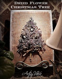Dried Flower Christmas Tree Canvas. I want to do this but with lights throughout