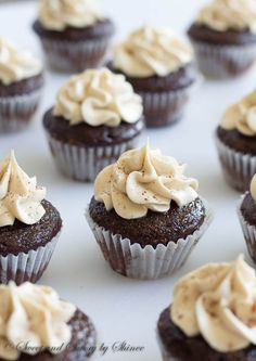 Mini Kahlua Cupcakes - Soaked with coffee liquor and topped with creamy Kahlua buttercream. Heaven in small bites!