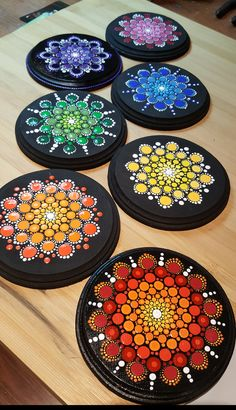 7 chakras mandala on inches wood circles by pierre du coeur dot art painting, Dot Art Painting, Rock Painting Designs, Mandala Painting, Pebble Painting, Pebble Art, Stone Painting, Mandala Design, Mandala Pattern, Mandala Painted Rocks