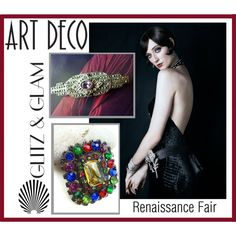 Art Deco Glitz and Glam by renaissance-fair on Polyvore featuring vintage
