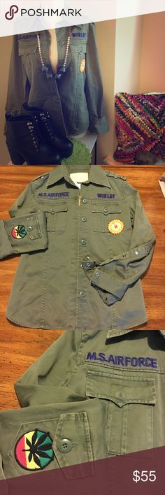 Festival inspired bohemian rare army jacket This is so amazing! I wish I could list more pictures!! There's so many cool features on this piece. At green button down jacket. Light  weight for for year round wear. Pearl snap buttons on arms. Wear arms up or down. Rasta patch on one arm. Floral Stitching on front. Embroidered Air Force tags above pockets. Cool vintage inspired tag inside. Cool army details on top shoulders. Amazing floral stitching on back. Tagged small. Can for extra small to…