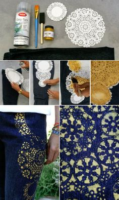 Shabby in love: Trasform everything with lace and spray paint. Golden Jeans