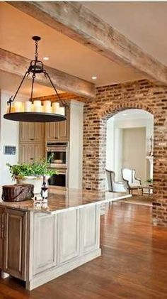 My parents house has a kitchen with exposed brick walls, and I love it. Its even better in the more contemporary home styles. - Model Home Interior Design Style At Home, Beautiful Kitchens, Beautiful Homes, Home Interior, Interior Design, Brick Interior, Kitchen Interior, Apartment Kitchen, Classic Interior