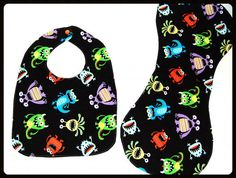Hey, I found this really awesome Etsy listing at https://www.etsy.com/listing/178618153/happy-monster-bib-and-burp-cloth-set
