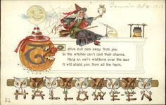 Halloween Witch & Jack O Lantern c1910 Postcard