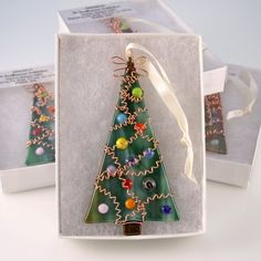 Wire Wrapped Tree Fused Glass Ornament by AtlantisDesigns on Etsy, $20.00