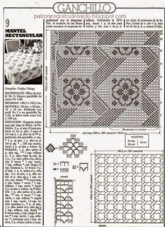 Patrones de mantel Puro Encanto - técnica crochet filet | Crochet y Dos agujas - Patrones de tejido