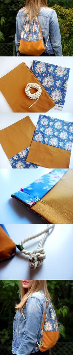 Instructions: Sew hipster gym bag - Diy and Crafts Zip Pouch Tutorial, Diy Bags Tutorial, Sewing Projects, Sewing Tutorials, Sewing Patterns, Diy Wallet, Diy Bags Purses, String Bag, Sewing Studio
