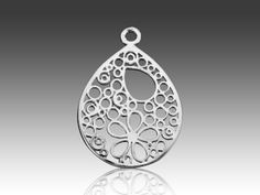 Lassero Sterling Silver Flower and Circle Teardrop Charm