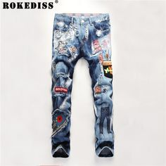 Cheap biker jeans, Buy Quality biker jeans brand directly from China brand biker jeans Suppliers: Famous Brand Luxury Men's Casual Rivet Paint Jeans Patchwork Ripped Knee Hole Zipped Biker Jeans Destroyed Torn Hip Hop Pants Ripped Jeans Men, Biker Jeans, Slim Jeans, Denim Pants, Buy Jeans, Hip Hop Jeans, Motorcycle Pants, White Jeans Outfit, Painted Jeans