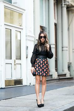 Neon Patterns :: Jacquard miniskirt & Lace blouse | Wendy's Lookbook | Bloglovin'