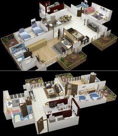 3 dormitorios con 3 balcones