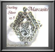 Sterling Marcasite Vintage Jewelry Ring Silver by DLSpecialties