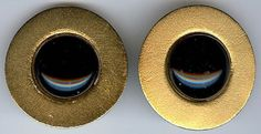 MARJORIE BAER VINTAGE BRUSHED GOLD TONE BLACK GLASS CABOCHONS CLIP ON EARRINGS