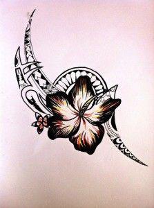 Fierce-looking tribal tattoo design with flower. #TattooModels #tattoo