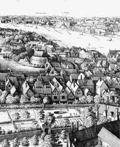 Southwark: view of London from Southwark, 1647
