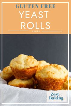 This gluten free yeast roll recipe produces soft, incredibly tasty rolls without the wait time. These rolls are baked in a muffin tin, so they'll bake evenly and be on your table in about 20 minutes. #glutenfreebread #zestforbaking #glutenfreebaking #glutenfreerolls