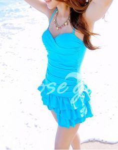 Cute Spaghetti Strap Solid Color Ruffle Swimsuit For Women Swimwear   RoseGal.com Mobile